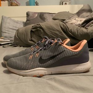 Nike coral and grey running shoes